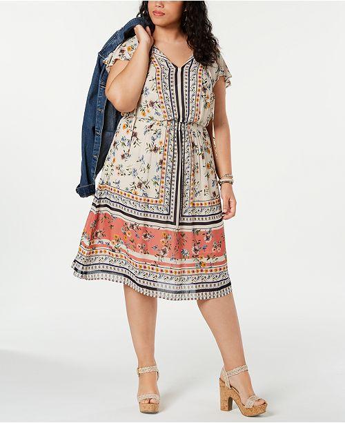 Lucky Brand Plus Size Printed Boho Peasant Dress & Reviews - Dresses ...