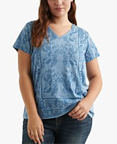 60263cfb03fb58 Lucky Brand Plus Size Printed V-Neck Top. Quickview. 2 colors
