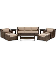 Camden Outdoor Aluminum 8-Pc. Seating Set (1 Sofa, 2 Swivel Chairs, 1 Coffee Table, 2 Ottomans & 2 End Tables), Created for Macy's