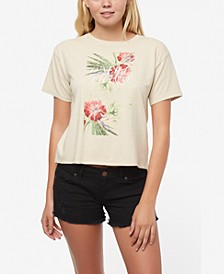 Juniors' Mirrors Cotton Floral-Print T-Shirt