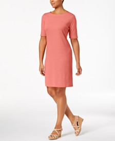 Karen Scott Petite Cotton Elbow-Sleeve Dress, Created for Macy's