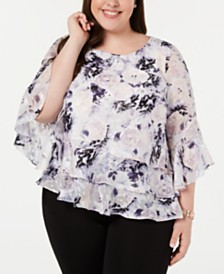 Alex Evenings Plus Size Ruffled Bell-Sleeve Top