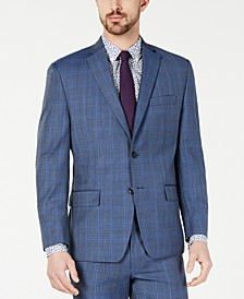 Men's Classic-Fit Airsoft Stretch Light Blue Plaid/Windowpane Suit Jacket