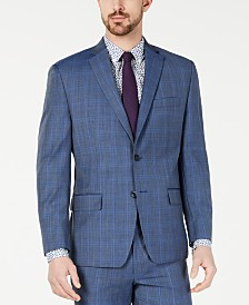 Michael Kors Men's Classic-Fit Airsoft Stretch Light Blue Plaid/Windowpane Suit Jacket