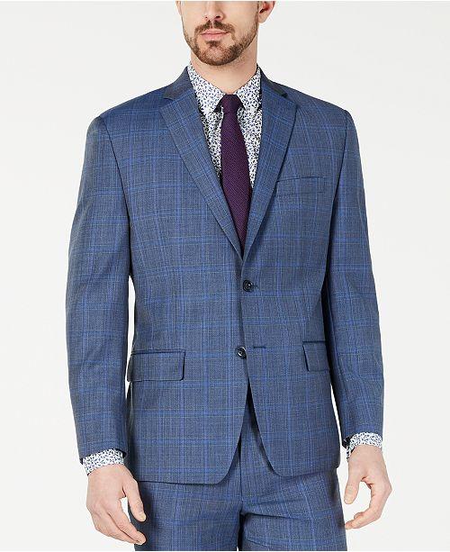 Michael Kors Men's Classic-Fit Airsoft Stretch Light Blue Plaid/Windowpane Suit Jacket