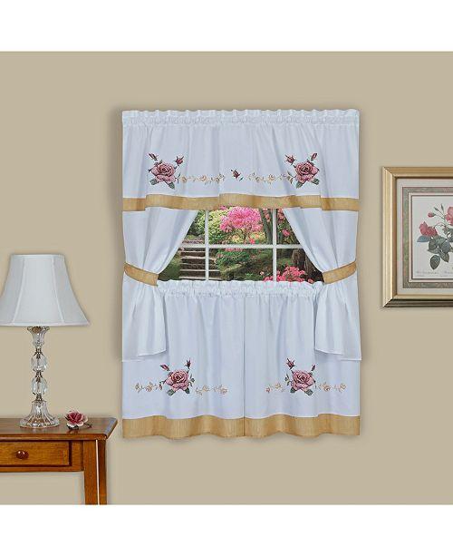 Achim Rose Embellished Cottage Window Curtain Set, 58x36