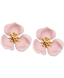 Gold-Tone Painted Flower Stud Earrings