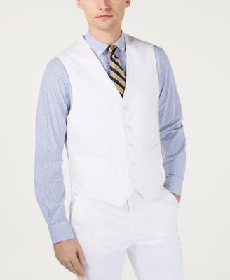 Men's Modern-Fit THFlex Stretch Solid White Suit Vest