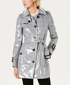 London Fog Belted Laminated Plaid Slicker Trench Coat