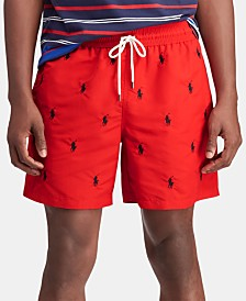 "Polo Ralph Lauren Men's 5 ¾"" Traveler Embroidered Pony Swim Trunks"