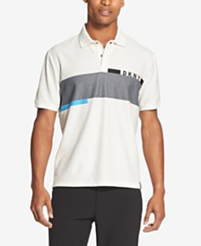 DKNY Men's Colorblocked Multi-Striped Logo Polo Shirt