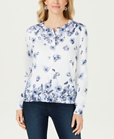 Karen Scott Petite Floral-Print Cardigan, Created for Macy's