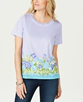 41b8f7aed05b Alfred Dunner Petite Butterfly Effect Braided-Trim T-Shirt