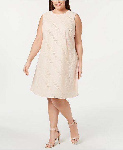 Calvin Klein Plus Size Eyelet Shift Dress & Reviews - Dresses ...