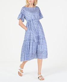 Weekend Max Mara Adorno Printed Cotton Tiered Dress