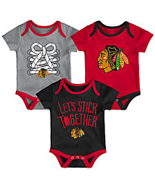 Outerstuff Chicago Blackhawks Five On Three Creeper 3 Pc Set, Infants (0-9 Months)