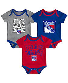 Outerstuff New York Rangers Five On Three Creeper 3 Pc Set, Infants (0-9 Months)