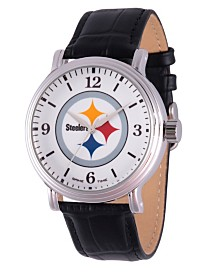 Gametime NFL Pittsburgh Steelers Men's Shiny Silver Vintage Alloy Watch