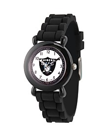 Gametime NFL Oakland Raiders Kids' Black Plastic Time Teacher Watch
