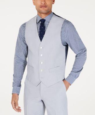 Men's Modern-Fit THFlex Stretch Light Gray Chambray Suit Vest