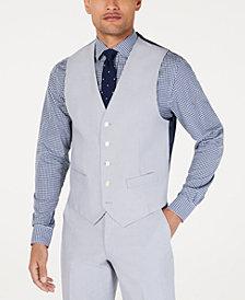 Tommy Hilfiger Men's Modern-Fit THFlex Stretch Light Gray Chambray Suit Vest