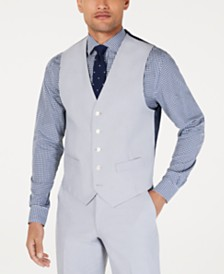 Tommy Hilfiger Men's Modern-Fit THFlex Stretch Light Gray Chambray Suit Vest