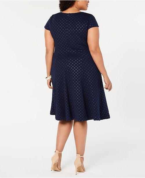 8c00a20f39e7e Jessica Howard Plus Size Polka-Dot Fit & Flare Dress & Reviews ...