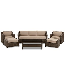 Camden Outdoor Aluminum 6-Pc. Seating Set (1 Sofa, 2 Chairs, 1 Coffee Table & 2 Ottomans), Created for Macy's
