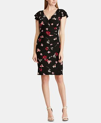 Petite Floral-Print Ruched Dress