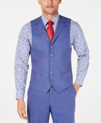 Men's Classic-Fit Blue Textured Suit Vest