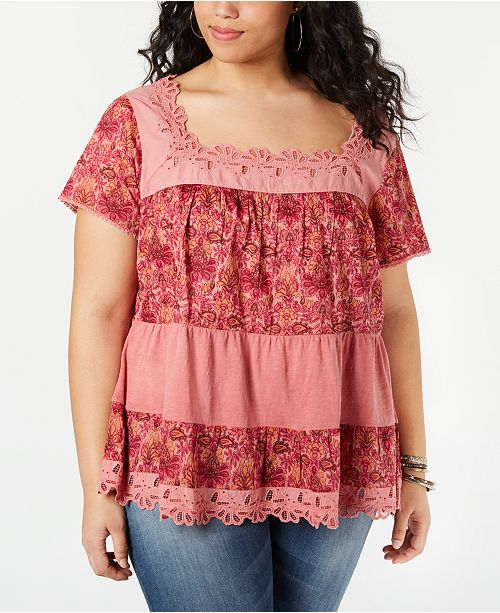 Lucky Brand Cotton Plus Size Printed Tiered Top