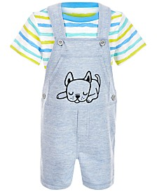 First Impressions Baby Boys 2-Pc. Striped T-Shirt & Puppy Shortall Set, Created for Macy's