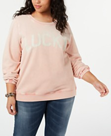 Lucky Brand Cotton Plus Size Washed Logo Sweatshirt