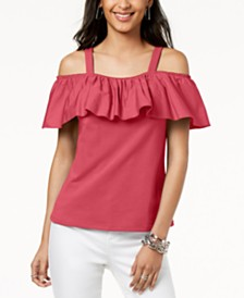 I.N.C. Petite Cold-Shoulder Ruffle Top, Created for Macy's