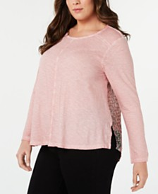 Style & Co Plus Size Print-Back Top, Created for Macy's