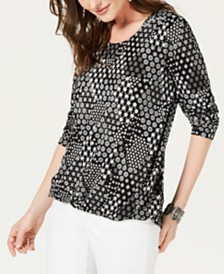Style & Co Printed Scoop-Neck High-Low Top, Created for Macy's