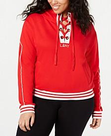 La La Anthony Trendy Plus Size Cotton Lace-Up Hoodie