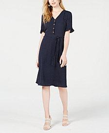 Monteau Petite Ruffle-Sleeve Button-Front Dress