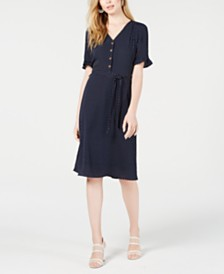 Monteau Petite Ruffle-Sleeve Button-Front Dress
