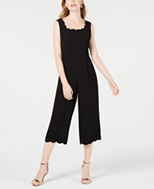 Monteau Petite Scalloped Jumpsuit