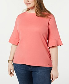 Plus Size Cotton Flared-Sleeve Top, Created for Macy's