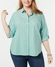 Plus Size Striped Cotton Roll-Tab Shirt