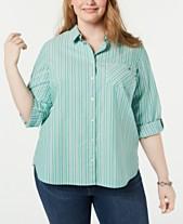 49e248869b9 Tommy Hilfiger Plus Size Striped Cotton Roll-Tab Shirt