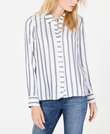 I.N.C. Petite Metallic-Stripe Shirt, Created for Macy's