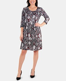 NY Collection Petite Printed Box-Pleated Dress