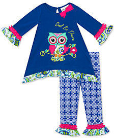 Rare Editions Baby Girls 2-Pc. Owl Top & Printed Leggings Set