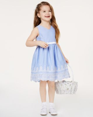Little Girls Embroidered Gingham Dress