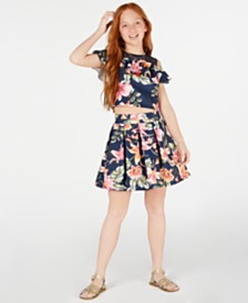 Beautees Big Girls Floral-Print Top & Skirt Set