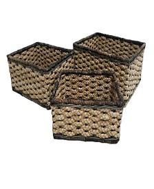 Set of 3 Rectangular Braided Bangkuang and Bacbac Storage Baskets