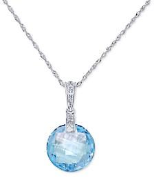 "Blue Topaz (7 ct. t.w.) & Diamond Accent 18"" Pendant Necklace in 14k White Gold"